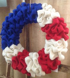 Patriotic Burlap Bubble Wreath by CreativeCaterpillar on Etsy, $32.00