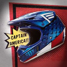 """There is a hero in us all"". Available today, a Captain America inspired Youth V1 helmet #Marvel #CaptainAmerica #CivilWar #foxracing @foxheadinc"