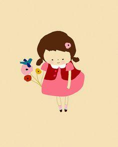 Custom Portrait Digital Art Print Little Love Of by dazeychic Illustration Art Drawing, Graphic Design Illustration, Room Girls, Kids Room, Baby Nursery Art, Baby Room, Art Birthday, Custom Art, Cute Drawings