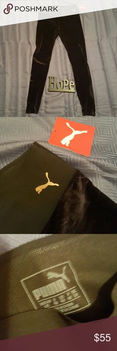 """PUMA *crushed velvet* leggings PUMA crushed velvet leggings! size large! i want these to fit me soooo bad!!! they are like a deep dark purple  color almost black the tag says """"black rose gold cat"""" so i dont know.... 37' long 15' wide.. 10' crotch rise.. PUMA Pants Leggings"""