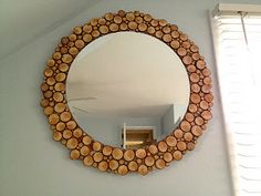 log slice mirror--except in my case, maybe a wreath for my front porch using some old cedar logs...