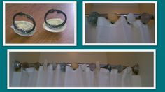 """DIY SHELL SHOWER CURTAIN RINGS....    Use a hot glue gun to glue real shells from your beach trip to Dollar Store shower curtain rings to create a beautiful, coastal """"spa"""" touch in your bathroom."""