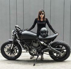 Ducati Scrambler Custom cafe racer by shelley - Motorcycle - Motorrad Ducati Cafe Racer, Cafe Racers, Ducati Custom, Ducati Scrambler Custom, Motocross, Cafe Racer Girl, Custom Cafe Racer, Biker Boys, Biker Girl