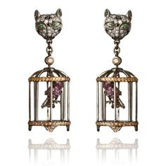 "18ct white gold, diamond, sapphire, and green garnet ""Fantasie Cat Cage"" earring by Wendy Yue for Annoushka"