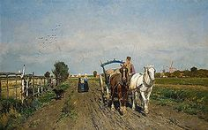 "Frans Van Leemputten: ""Horses on a path"". 1884 oil on canvas. Dimensions 71 × cm × in). Artist Biography, Urban Life, Art Auction, Landscape Paintings, Countryside, Serenity, Oil On Canvas, Paths, Van"