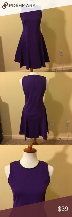 Lauren Ralph Lauren Purple A-line Dress Size M Lauren Ralph Lauren Purple A-line Dress Size M, NWT, Black leather like collar. Lauren Ralph Lauren Dresses Midi