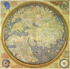 Fra Mauro map, 1450.  It is a circular planisphere drawn on parchment and set in a wooden frame, about two meters in diameter.