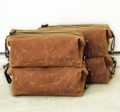 Men's Toiletry Bag, Personalized Groomsmen Gift, Embroidered Monogram, Waxed Cotton Canvas and Leather Dopp Kit, Handmade