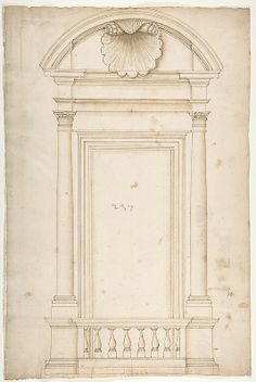 Palazzo Senatorio, window, elevation (recto) Palazzo Senatorio, window, plan; section (verso) Drawn by Anonymous, French, 16th century