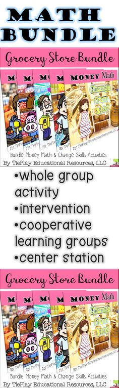 Great fun! Bundle Grocery Store Money Math Change Word Problems includes...* change from $1.00* change from $5.00* change from $10.00* change from $20.00* change from $100.00. Bundle Grocery Store Money Math Change Word Problems can be used as an intervention and with math center stations.