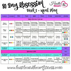 I am super excited to be starting 80 Day Obsession on Monday - it has been months since I sat down with a plan or used my portion fix container (slacker, I kno Paleo Diet Plan, Low Carb Diet Plan, Diet Plans, Smart Nutrition, Nutrition Plans, Nutrition Poster, Nutrition Chart, Nutrition Shakes, Proper Nutrition