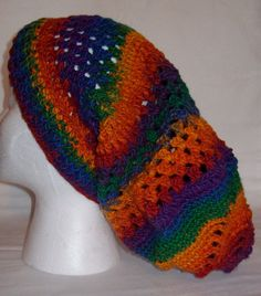 Colorful Hand Crocheted Slouch Hat by Poulsbohemian on Etsy, $65.00