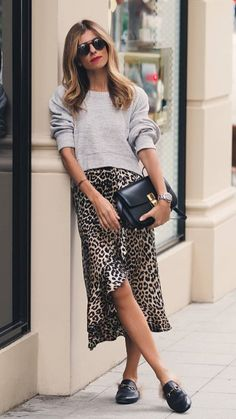 ce7e3bff31be A cute, basic, not-for-the-gym sweatshirt is the perfect option to make a  casual outfit with your favorite sexy skirt. Leopard print skirt and Grey  ...
