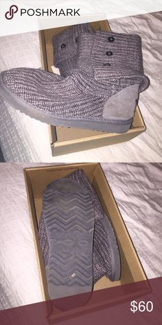 Gray crocheted UGGs Size 9 gray UGGs. Very comfortable. Good condition. UGG Shoes Winter & Rain Boots