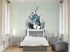 ohpopsi Alice In Wonderland White Rabbit Wall Mural Home Decor Decals, Wallpaper, Interior Projects, Wall Murals, Mural Wallpaper, Wallpaper Living Room, Wallpaper S, Feature Wall, Living Room Wallpaper Murals