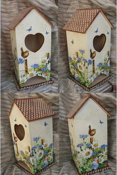 Decorative Bird Houses, Bird Houses Painted, Bird Houses Diy, Decorative Boxes, Decoupage Box, Decoupage Vintage, Diy And Crafts, Paper Crafts, Tea Box