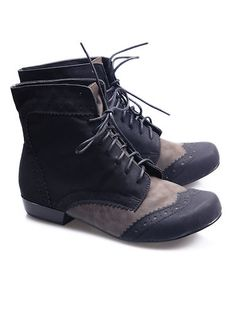 LADIES LOW/SMALL HEEL BROGUE STYLE ANKLE BOOTS/SHOES [BT_1302] | eBay