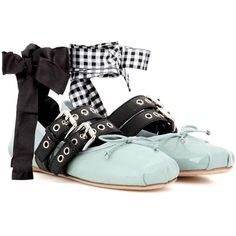 Miu Miu Buckle-Embellished Patent Leather Ballerinas (2.241.130 COP) ❤ liked on Polyvore featuring shoes, flats, multicoloured, patent leather ballet flats, black ballet shoes, ballet shoes, ballerina flats and blue ballet flats