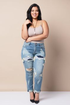 Plus Size High Waisted Stretch Skinny Jeans - Distressed Indigo ...