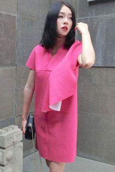 V-neck cotton blend mini dress