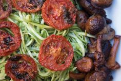 Zucchini Pasta with Mushrooms and Oven Dried Tomatoes - Joy of Kosher