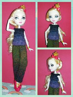 This pattern fits the Ever After High dolls and the Monster High dolls.