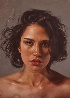 """""""Portrait of Ophelia"""" - Aaron Nagel, oil on canvas {contemporary realism art beautiful female head woman face cropped painting #loveart} aaronnagel[dot]com"""