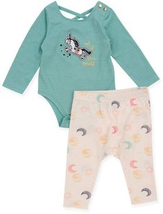 0c477f251605 Jessica Simpson 2-Piece Long Sleeve Bodysuit and Pant Set in Aqua #babygirl,