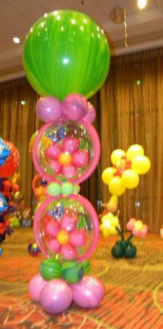 Garden Theme Columns    Balloon column, garden party, flower theme, garden party, Celebration Creations