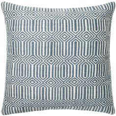 Loloi Hampton Blue & Ivory Indoor/Outdoor Throw Pillow (€62) ❤ liked on Polyvore featuring home, outdoors, outdoor decor, outdoor throw pillows, outdoor garden decor, blue outdoor throw pillows and blue outdoor pillows