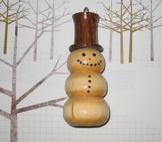 Lathe Made Christmas Ornaments | lathe ornaments snowman with hat.