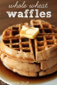Homemade Whole Wheat Waffles from SixSistersStuff.com.  A tasty way to start off your day!  Even my picky eaters loved them! #sixsistersstuff #breakfast #waffles