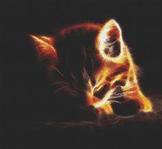 Fractal Kitten in the Dark. Pretty Cats, Cute Cats, Cat Cross Stitches, Flame Art, Cat Background, Sleepy Cat, Cat Wallpaper, Galaxy Wallpaper, All About Cats