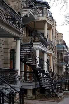 classic winding staircase, Montreal, Canada