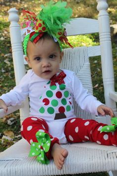 Baby Girl Christmas outfit SET  Grinch by DarlingLittleBowShop, $53.00