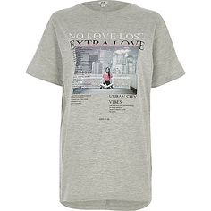 Grey 'no love lost' print boyfriend T-shirt