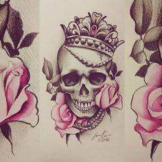 rosas+y+calaberas+para+tatuar.jpg (564×564)