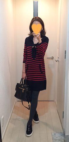 Navy-red Striped dress: MACPHEE, Bag: PRADA, Leather slip-ons: VANS