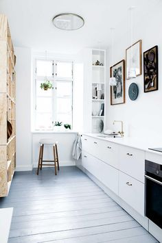 Two looks of a small kitchen with amazing open shelving