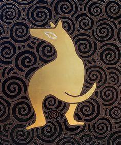 """andrea mattiello """"Golden dog""""  acrilico e foglia oro su tela cm 80x100; 2013; andrea mattiello per olipet #contemporary #art #arte #artista #emergente #collage #cane #dog #love #olipet"""