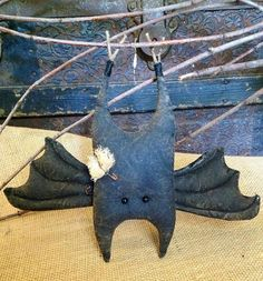 Adorable Stuffed Bat Primitive Halloween by BeaverBoutiquePrim