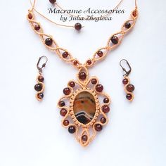 Macrame set Wind Rose peach necklace and earrings with от makrame
