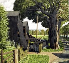 Simon Palmer (1956-) > Early Heatwave watercolour with ink and gouache 26¼ x 28½ ins (66.68 x 72.39 cm)