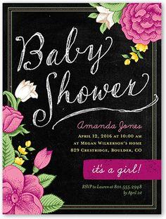 Botanical Chalk 4x5 Invitation Card | Baby Shower Invitations | Shutterfly