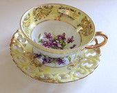 Royal Sealy Yellow Lattice Teacup and Saucer, Sealy Tea Cup with Violets, Japanese Cups, Japanese Teacups, Gift for Her, Tri Footed Tea Cup