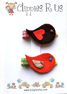birdie hair clips....perfect for fall
