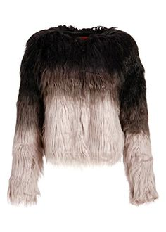 7942b4e0 Womens Collarless Ombre Faux Fur Shaggy Jacket - Size Large Pretty Attitude  http://