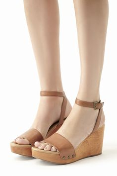 Tan leather platform wedges with antique brass studs