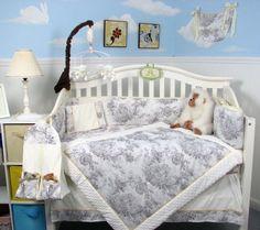 SOHO White & Charcoal French Toile Crib Nursery Bedding Set 14 pcs by SOHO DESIGNS, http://www.amazon.com/dp/B00A41ABFO/ref=cm_sw_r_pi_dp_wR5hrb1CRJ6ZW