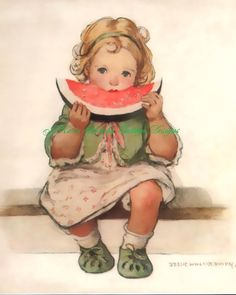 Sweet Vintage Print on Colorfast Treated Fabric Block 5x7 Cute Little Girl Eating Watermelon